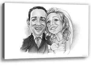 Karikatur Hochzeit ist eine lustige Geschenkidee