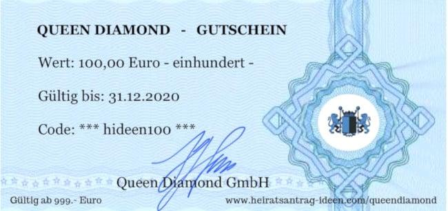 Queen Diamond 100 Euro Gutschein für einen Luxus Diamant Verlobungsring
