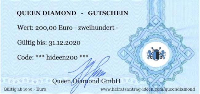 Queen Diamond 200 Euro Gutschein für einen Antragsring