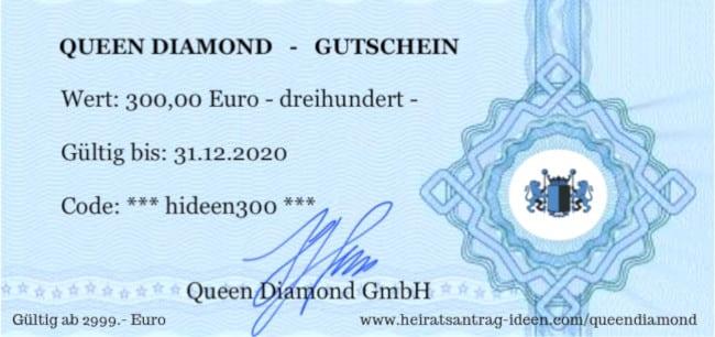 Queen Diamond 300 Euro Gutschein für einen Diamantring 1 Karat