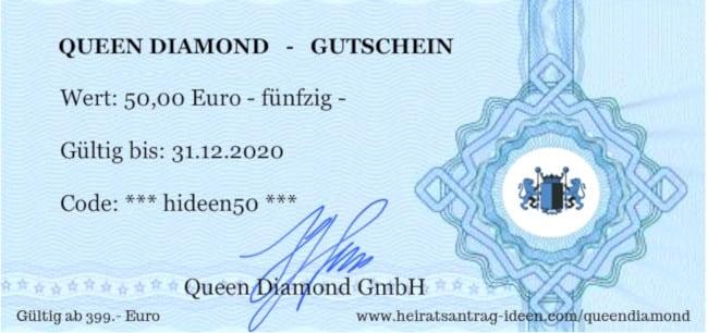 Queen Diamond 50 Euro Gutschein für einen Luxus Verlobungsring